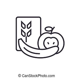 Healthy food flat line illustration, concept vector isolated icon on white background