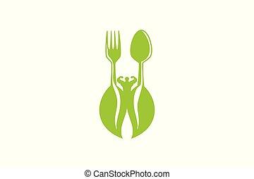 healthy food for body builder logo design inspiration