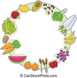 Healthy Food Frame - Frame Illustration Featuring Different...