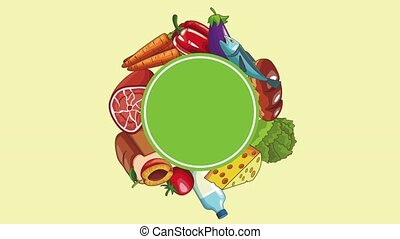 Healthy food frame HD animation - Healthy food round blank...