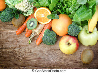 Healthy food, fresh organic fruit and vegetable on table