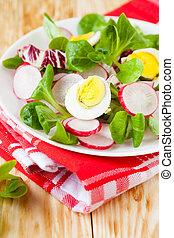 healthy food - fresh salad with egg