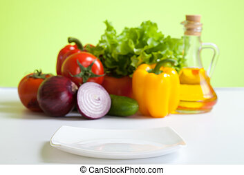healthy food fresh vegetables still life and focused white plate in front