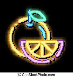 Healthy Food Fruit Orange neon glow icon illustration