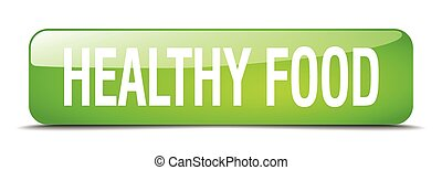 healthy food green square 3d realistic isolated web button