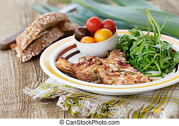 Grilled chicken - Healthy food. Grilled chicken with salad