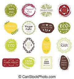 Healthy Food Hand Drawn Labels