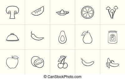 Healthy food hand drawn sketch icon set.