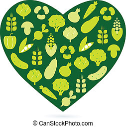Healthy food heart isolated on white ( green ) - Vegetable ...