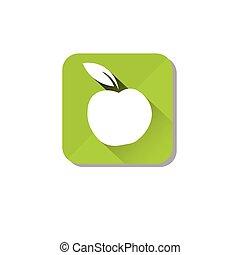 Healthy Food Icon Green Apple Logo