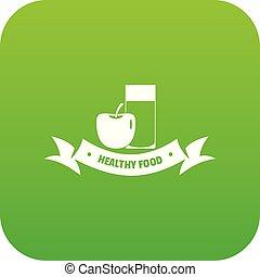Healthy food icon green vector