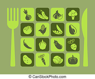 Healthy Food Icon Set.