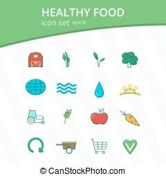 Healthy food icon set