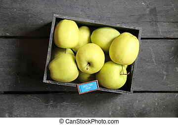 healthy food idea - text and fresh apples on a vintage table