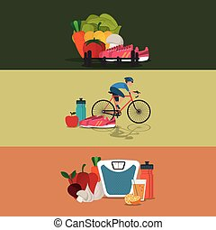 healthy food ingredients icons image