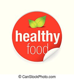 Healthy food label tag red
