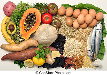 Healthy food - Layout of wide selection of wholesome healthy...