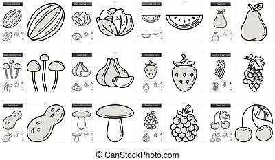 Healthy food line icon set.