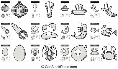 Healthy food line icon set. - Healthy food vector line icon...