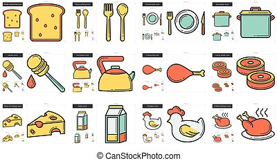 Healthy food line icon set.