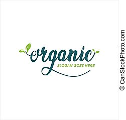 healthy food logo. Premium quality, vegan, green life, organic products. Calligraphy, Typography logo design inspiration