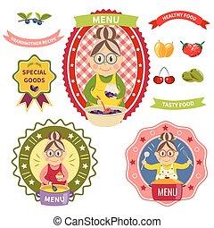Healthy Food Menu Colorful Labels