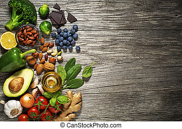Healthy food - Mixed fresh healthy food on wooden background