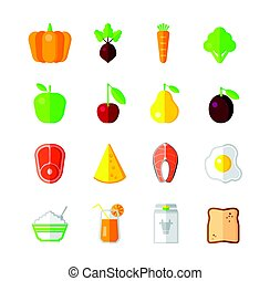 Healthy Food - modern color vector flat design icon set