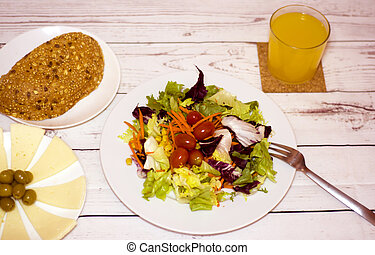 Healthy food on a white wooden table
