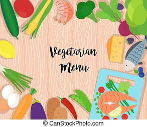 Healthy food on wooden background