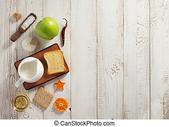 healthy food on wooden table