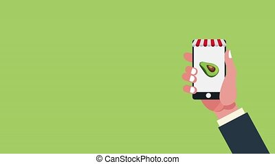 Healthy food online order HD animation - Hand using...