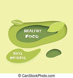 Healthy Food paper cut banner. Vector illustration.