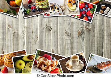 Healthy food photo collage. Collage of different testy dessert, fruits on wooden background. Healthy breakfast concept