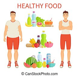 Healthy Food Poster and Icons Vector Illustration - Healthy...