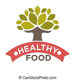 Healthy food product vector label or isolated icon