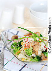 Healthy food, rice salad with vegetables