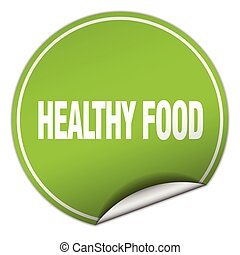 healthy food round green sticker isolated on white