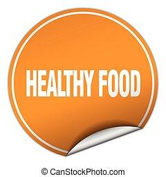 healthy food round orange sticker isolated on white