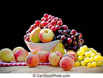 Healthy food, seasonal organic fruit, harvest is on table