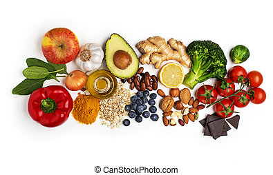 Selection of healthy food on white background. Healthy diet foods for heart, cholesterol and diabetes.