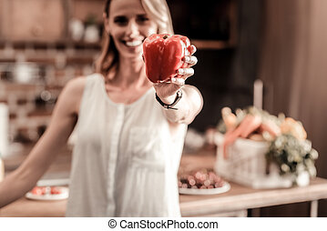 Selective focus of red sweet pepper