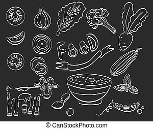 Healthy food set of icon. Vector illustration