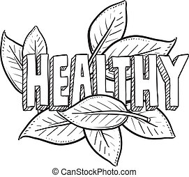 Doodle style healthy food, agriculture, or lifestyle illustration in vector format. Includes text and natural leaves.
