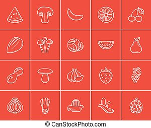Healthy food sketch icon set.