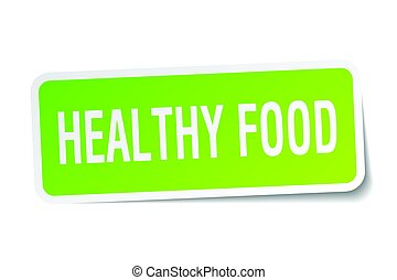 healthy food square sticker on white