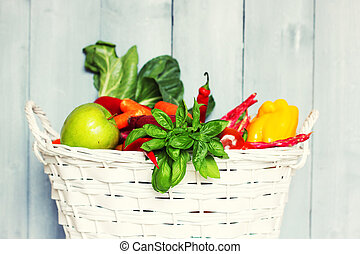 Healthy food - Photo of white basket with vegetables