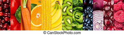 healthy food - collage of colorful vegetables and fruits