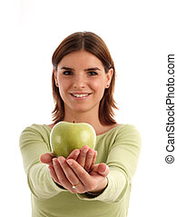 Healthy food - Young woman holding green apple