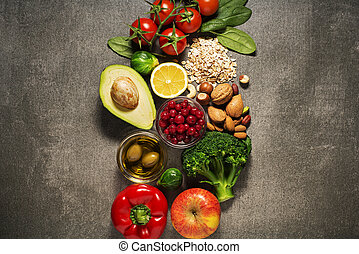 Healthy food - Selection of healthy food with vegetable and...